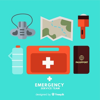 Kit de sobrevivência de emergência com design plano