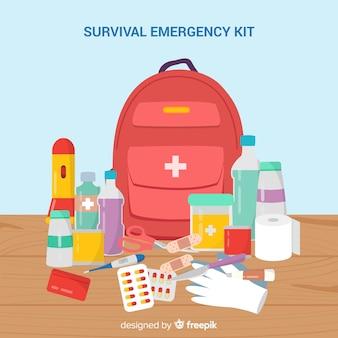 Kit de sobrevivência de emergência em design plano