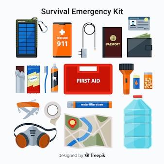 Kit de sobrevivência de emergência plana moderna