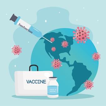 Kit de vacinas de vírus covid19 com seringa e partículas na ilustração do planeta terra