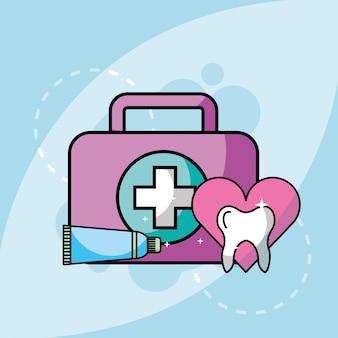 Kit dentífrico e dente médicos
