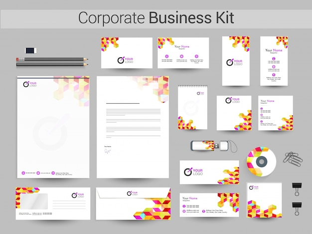 Kit empresarial corporativo com design abstrato colorido.