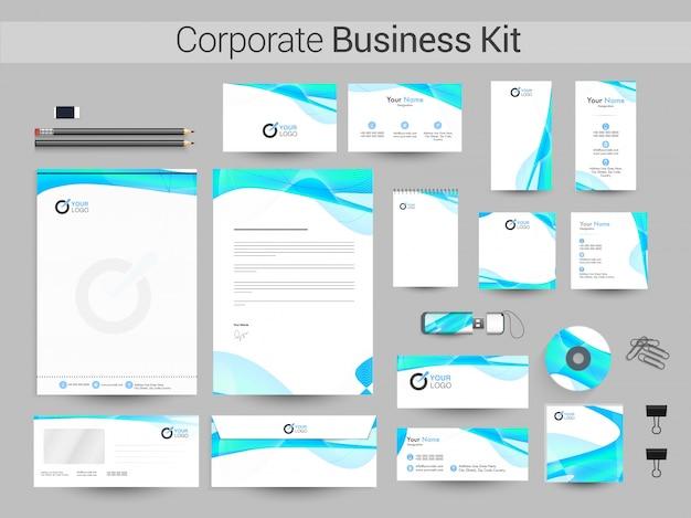 Kit empresarial corporativo com ondas abstratas lustrosas.