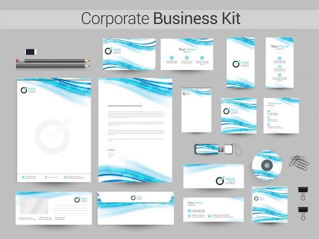 Kit empresarial corporativo com ondas brilhantes.