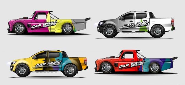 Kit gráfico de veículo. fundo curvo abstrato para design de decalques de carro, van e caminhão de corrida