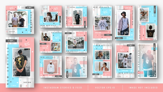 Kit instagram para modelo de pacote de venda de moda