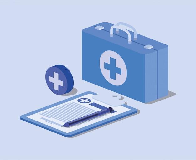 Kit médico com pedido na lista de verificação e cruz