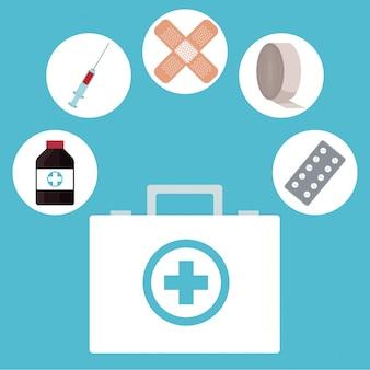 Kit médicos de primeiros socorros ícones médicos