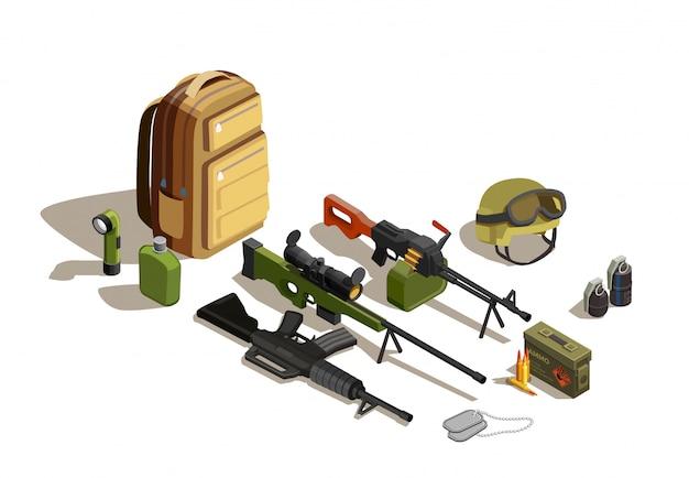 Kit militar isométrico de pessoal do exército
