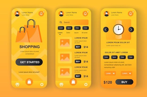 Kit neomórfico amarelo exclusivo de solução de compras. aplicativo de compras para leilão on-line com foto, descrição e preço. interface do usuário da loja na internet, conjunto de modelo ux. gui para aplicativos móveis responsivos.
