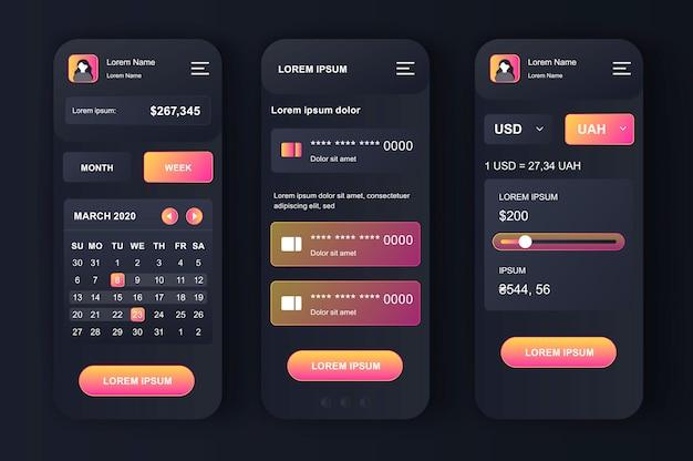 Kit neomórfico de gerenciamento de finanças pessoais. aplicativo de orçamento com monitoramento financeiro de contas bancárias e de cartão de crédito. interface do usuário de banco on-line, conjunto de modelo ux. gui para aplicativos móveis responsivos