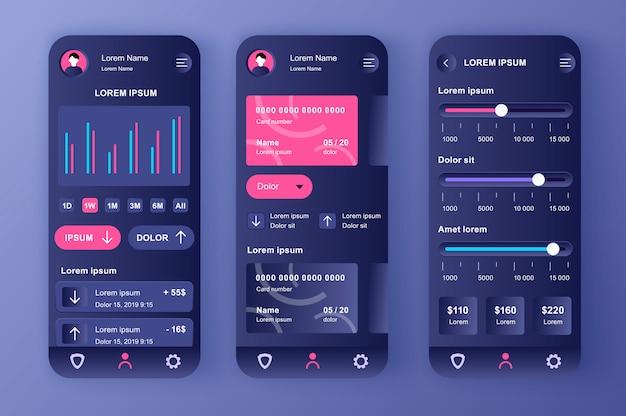Kit neomórfico exclusivo de banco inteligente. aplicativo financeiro para configurações de saldo, análise e limites de pagamento de cartão de crédito. interface do usuário da conta bancária on-line, conjunto de modelo ux. gui para aplicativos móveis responsivos