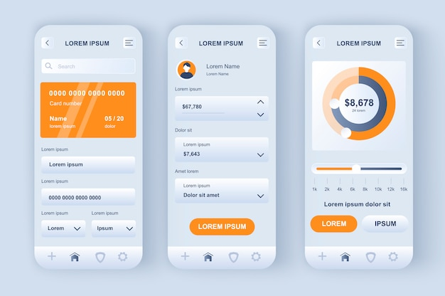 Kit neomórfico exclusivo de banco on-line. aplicativo de contabilidade financeira pessoal, análise de fluxo de dinheiro, investimento inteligente. ui de gerenciamento financeiro, conjunto de modelo de ux. gui para aplicativos móveis responsivos.