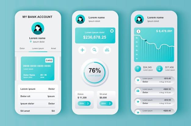 Kit neomórfico exclusivo de banco on-line para app. telas de carteira móvel com análises financeiras e saldo monetário. ui de gerenciamento financeiro, conjunto de modelo de ux. gui para aplicativos móveis responsivos.