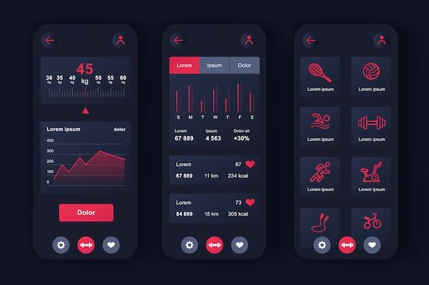Kit neomórfico exclusivo de treino de fitness para app. escolha do programa de condicionamento físico, monitoramento da saúde e nível de atividade atual. esporte planejador interface do usuário, conjunto de modelo ux. gui para aplicativos móveis responsivos.