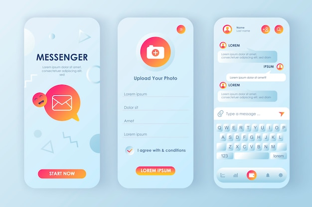 Kit neomórfico exclusivo do messenger online para aplicativos. serviço de mensagens de rede social com perfil de usuário e teclado de bate-papo. ui do messenger móvel, conjunto de modelo de ux. gui para aplicativos móveis responsivos.