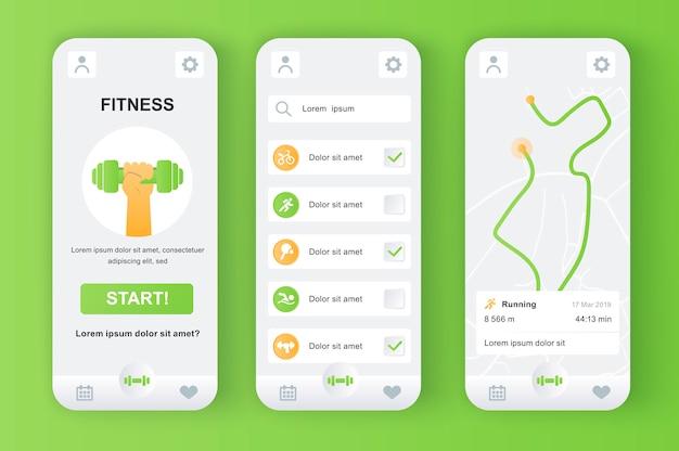 Kit neomórfico exclusivo para monitor de fitness para aplicativo móvel. rastreador pessoal com rota em execução no mapa, diferentes tipos de exercícios. ui de esporte, conjunto de modelo de ux. gui para aplicativos móveis responsivos.