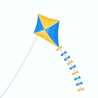 Kite colorido voa no céu isolado no branco