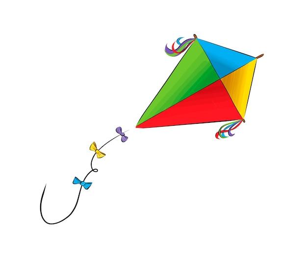 Kite de tintas multicoloridas respingo de aquarela colorido desenho realista