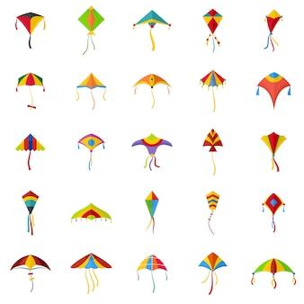 Kite voando festival surf conjunto de ícones