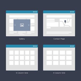 Kits de interface do usuário do wireframe layouts para sitemap e ux design
