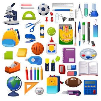 Kits escolares, conjunto de gráfico de vetor