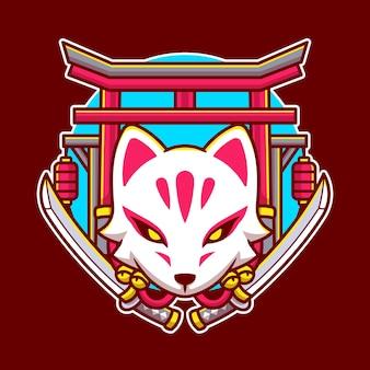 Kitsune fofo com ilustração de desenho em espada Vetor Premium