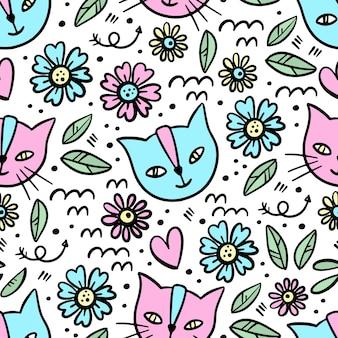 Kitten flower esboço desenhado à mão padrão sem emenda