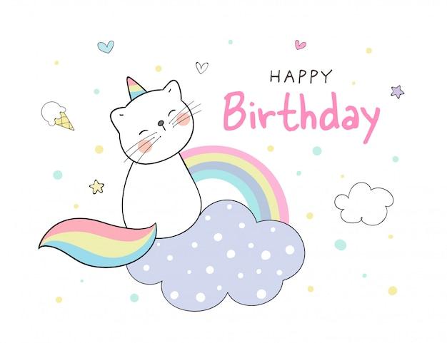 Kittycorn sentado na nuvem para aniversário.