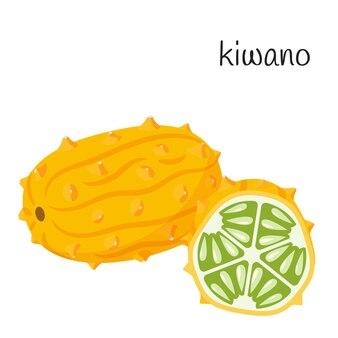 Kiwano inteiro na pele e cortado ao meio com sementes e polpa. frutas tropicais exóticas.