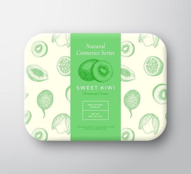 Kiwi banho cosméticos pacote caixa abstrata vetor embrulhado recipiente de papel com etiqueta tampa embalagem d ...