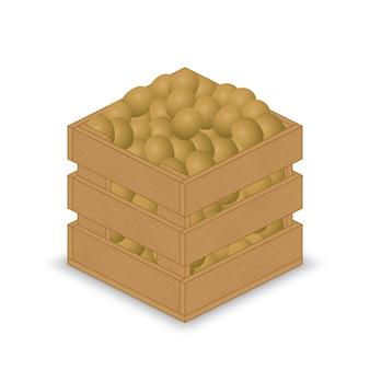 Kiwi em caixa de madeira