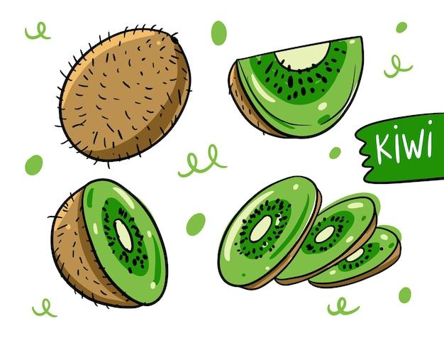 Kiwi inteiro, em fatias e em corte. mão desenhada em estilo cartoon.