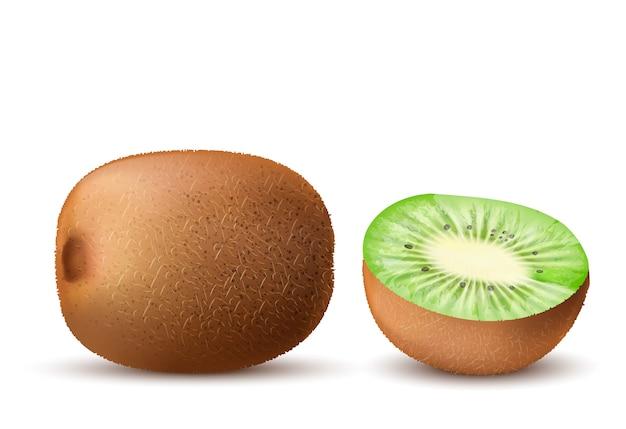 Kiwi maduro marrom realista, inteiro e metade, isolado no fundo