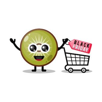 Kiwi shopping black friday mascote fofa