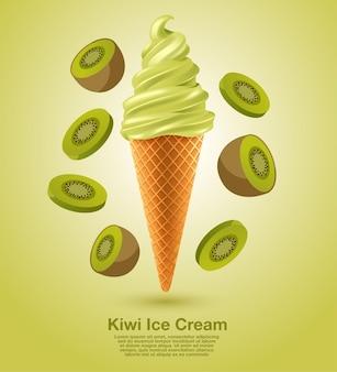 Kiwi sundae soft serve