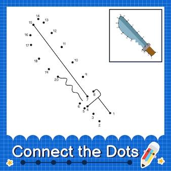 Knife kids conecte a planilha de pontos para crianças contando o número 1 a 20