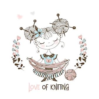 Knitter doce menina desenrola o fio em uma bola. costureira.