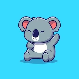 Koala bonito acenando a mão