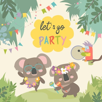 Koala bonito dançando com amigo