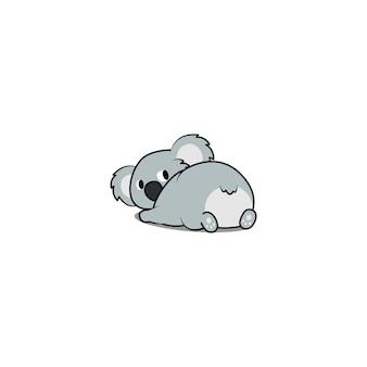 Koala bonito deitado e olhando para trás
