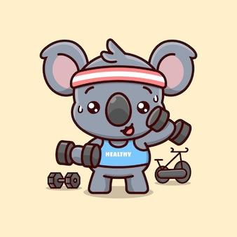 Koala bonito em roupa azul exercitando-se com dumbbells. mascote dos desenhos animados