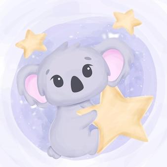 Koala bonito pequeno alcançar as estrelas