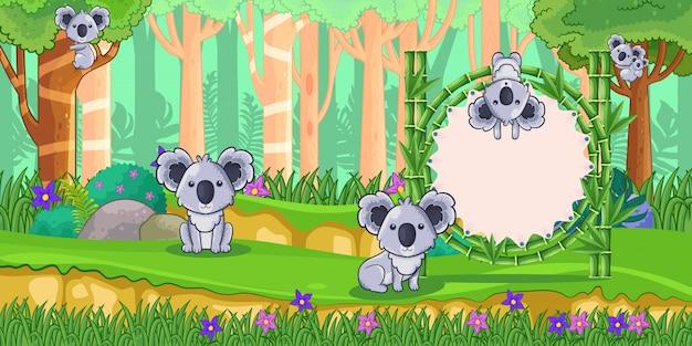 Koalas com um sinal em branco de bambu na floresta