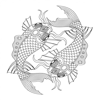 Koi peixe mandala zentangle estilo linear