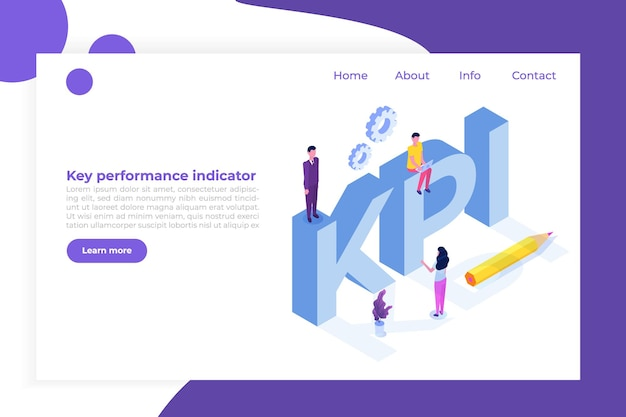 Kpi, indicador-chave de desempenho, conceito isométrico de consultoria de negócios.