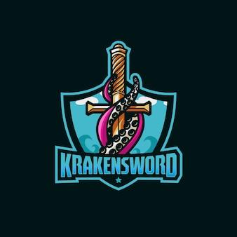 Kraken espada incrível logotipo esporte