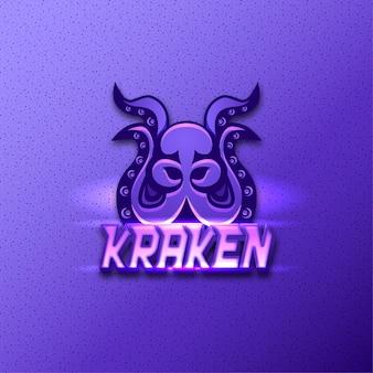 Kraken, logotipo do mascote do polvo. efeito de texto editável