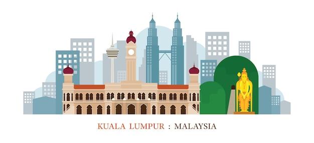 Kuala lumpur malásia skyline marcos