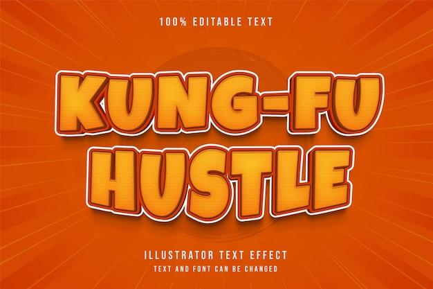 Kung-fu hustle, efeito de texto editável gradação amarela laranja cômico sombra estilo de texto